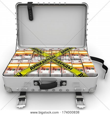 Dividends. Suitcase full of money. A suitcase filled with with packs of Russian rubles and yellow tapes with text