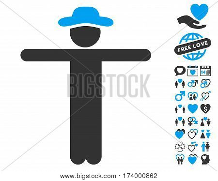 Gentleman Scarescrow pictograph with bonus valentine symbols. Vector illustration style is flat iconic blue and gray symbols on white background.