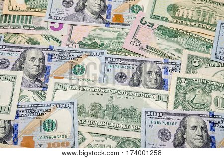 several dollar bills as background close up