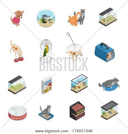Pet shop isometric icons set with cats and dogs isolated vector illustration