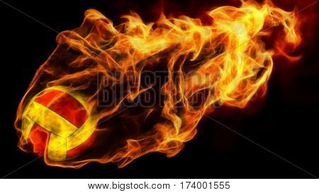 3d illustration of burning volleyball attack. isolated on black.