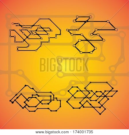 Set of 4 Mechanical schemes, vector engineering drawing with geometric parts mechanism. Futuristic industrial project can be used in web design and as wallpaper.