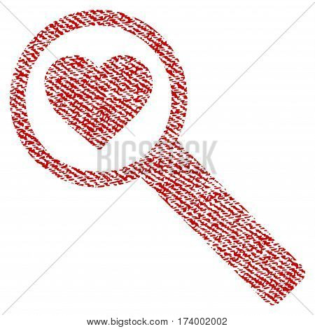 Find Love vector textured icon for overlay watermark stamps. Red fabric vectorized texture. Symbol with dust design. Red ink rubber seal stamp with fiber textile structure.