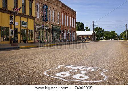 Atlanta Illinois USA - July 5 2014: Stretch of the US Route 66 in the city of Atlanta Illinois USA
