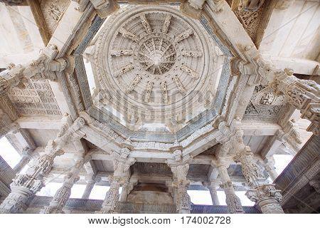 Interior Of Ranakpur Temple In Rajasthan, India