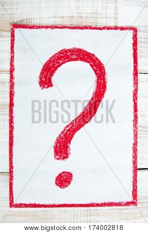 colorful drawing on white background - red question mark