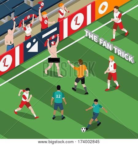 Trick of sports fan isometric composition with naked man on field during soccer match vector illustration