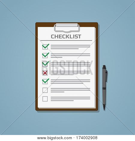 Clipboard or a file with sheets and a checklist with green and red check marks and pen on a blue background. Business workspace. Flat style vector illustration.