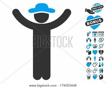 Hands Up Gentleman icon with bonus decorative design elements. Vector illustration style is flat iconic blue and gray symbols on white background.