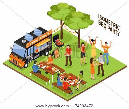 Isometric bbq party at nature with eating and dancing people vehicle and grill equipment 3d vector illustration