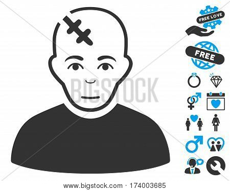 Head Hurt icon with bonus romantic design elements. Vector illustration style is flat iconic blue and gray symbols on white background.