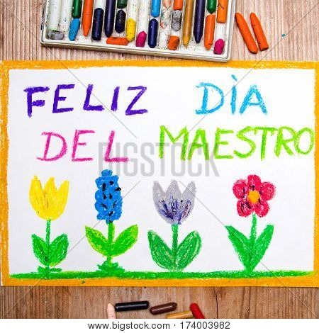 Colorful drawing - Spanish Teacher's Day card with words 'Día del maestro' - Teachers day