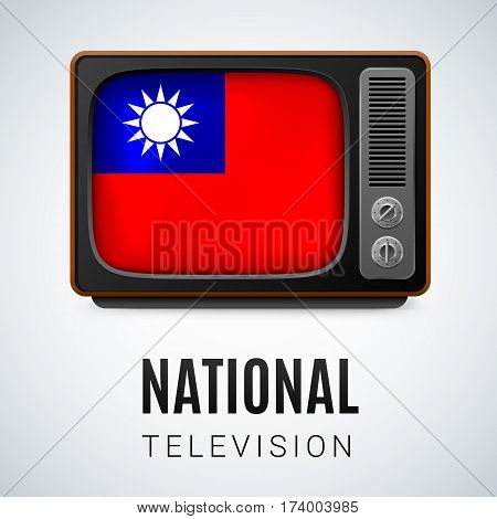 Vintage TV and Flag of Taiwan as Symbol National Television. Tele Receiver with flag design