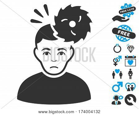 Headache icon with bonus passion clip art. Vector illustration style is flat iconic blue and gray symbols on white background.