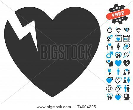 Heart Crack pictograph with bonus romantic pictograph collection. Vector illustration style is flat iconic blue and gray symbols on white background.