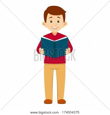 student holds an open book in his hands.boy stands right with book in hand, smiling, school concept, vector illustration with layers isolated on white background.reading boy