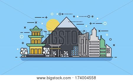Vector illustration background icon linear style architecture buildings monuments town city country travel printed materials, cover, Japan, monuments, Tokyo, Japanese culture, landscape, mountain