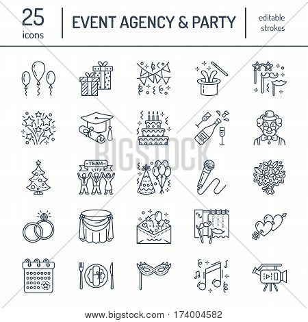 Event agency, wedding organization vector line icon. Party service - catering, birthday cake, balloon decoration, flower delivery, invitation, clown. Thin linear sign of corporate party, team building poster