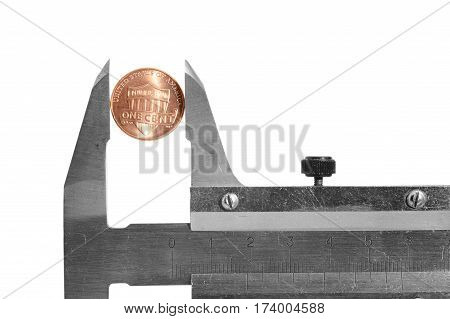 Trammel with coin on white background isolated