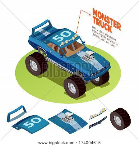 Monster truck model 4wd four runner range rover off-road vehicle kit isometric package image advertisement vector illustration