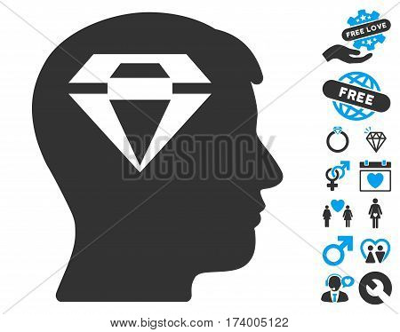 Human Head With Diamond pictograph with bonus passion pictograms. Vector illustration style is flat iconic blue and gray symbols on white background.