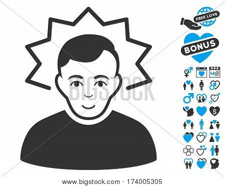 Inventor icon with bonus passion icon set. Vector illustration style is flat iconic blue and gray symbols on white background.