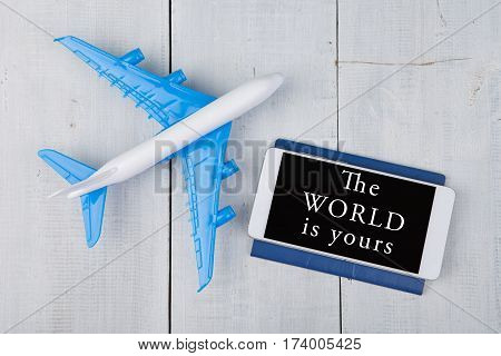 Plane, Passport And Smartphone With Text