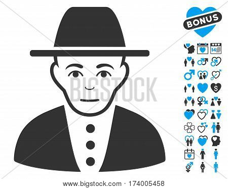 Jew icon with bonus passion graphic icons. Vector illustration style is flat iconic blue and gray symbols on white background.
