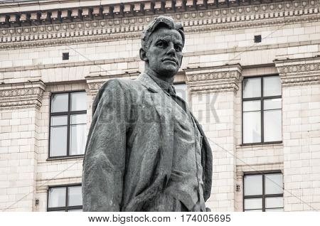 Vladimir Mayakovsky monument in Moscow Triumphal square, Russia