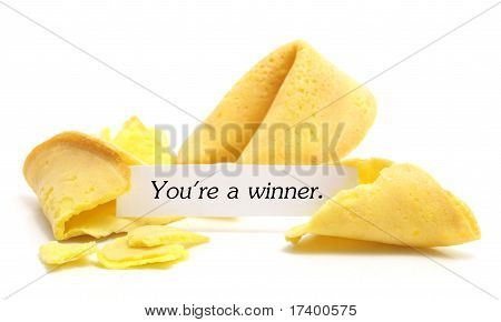 open fortune cookie isolated on a white background poster