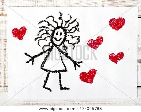 colorful drawing - happy girl and hearts