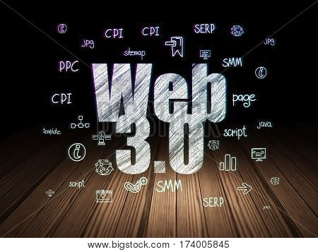 Web design concept: Glowing text Web 3.0,  Hand Drawn Site Development Icons in grunge dark room with Wooden Floor, black background