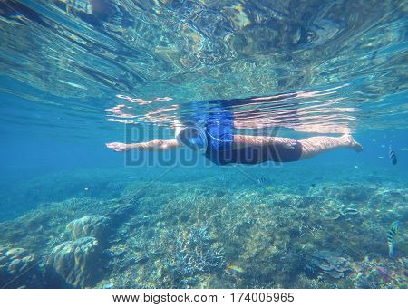 Woman swims undersea in swimming costume and full-face mask. Blue sea banner template. Underwater photo of female snorkel in modern gear. Snorkeling in coral reef with coral fish. Tropical sea nature