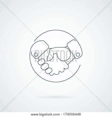 Abstract handshake icon. Handshake sign in the circle, on white background. Vector illustration.
