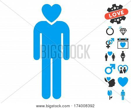 Lover Man pictograph with bonus amour pictograph collection. Vector illustration style is flat iconic blue and gray symbols on white background.