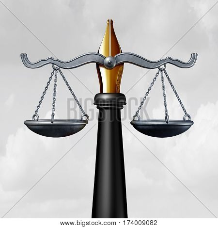 Writing law or legislation writer symbol as a pen and nib with a justice scale as a legal opinion symbol to legislate as a lawyer or judge and write laws as a 3D illustration.