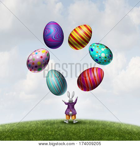 Rabbit juggling Easter eggs as a cute seasonal bunny mascot playing with magical decorated spring holiday symbols with 3D illustration elements.