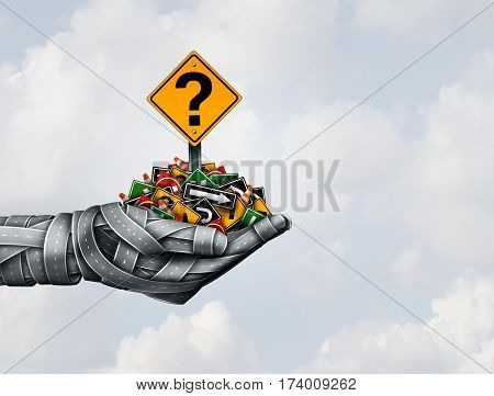 Path strategy solution and direction of ideas in business leadership or transport answers concept presenting the right strategic plan with a group of roads shaped as a hand and holding traffic signs as a 3D illustration.