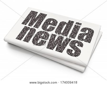 News concept: Pixelated black text Media News on Blank Newspaper background, 3D rendering