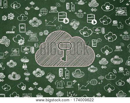 Cloud technology concept: Chalk Pink Cloud With Key icon on School board background with  Hand Drawn Cloud Technology Icons, School Board