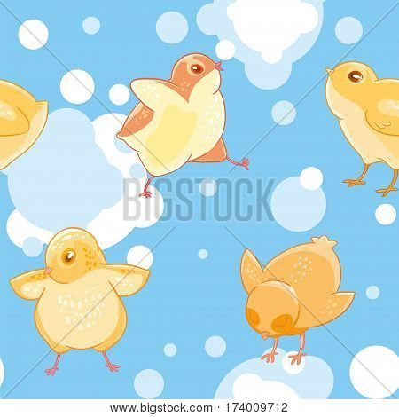 Seamless pattern with cartoon funny yellow chickens on a background of blue sky and clouds. Textiles, Wallpaper, kids decor.