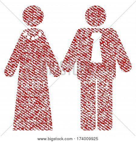 Newlyweds vector textured icon for overlay watermark stamps. Red fabric vectorized texture. Symbol with dust design. Red ink rubber seal stamp with fiber textile structure.
