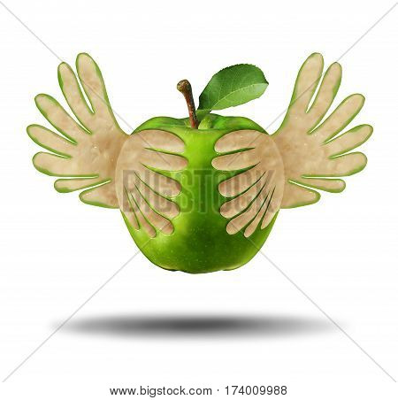 Eating light healthy food as a green apple with the peel shaped as flying wings as a symbol for the power of fresh nutrition in a 3D illustration style.