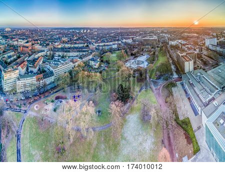 The city skyline of Essen with the municipal garden, Germany, aerial