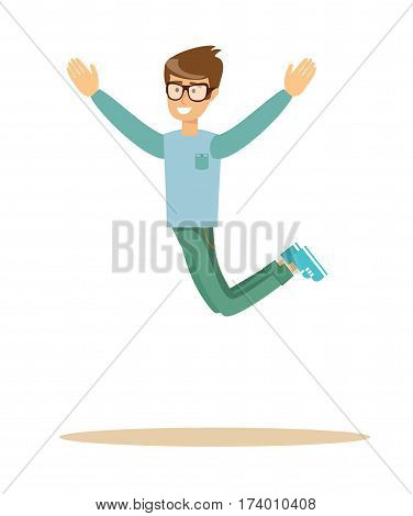 casual man jumping and smiling , over white background. Cartoon character illustration . Stock vector illustration for poster, greeting card, website, ad.