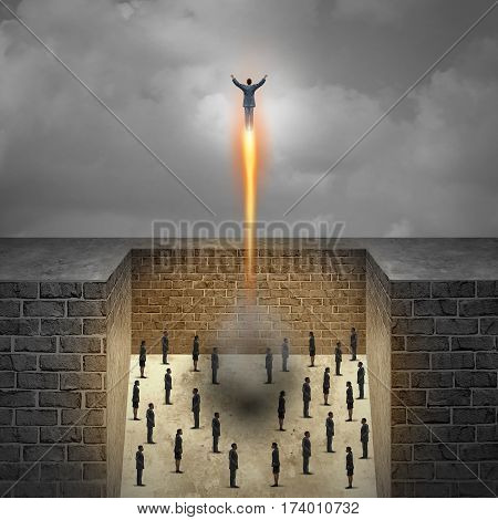 Career boost business concept as a businessman taking off as a rocket from a group of company workers trapped in walls as a metaphor for entrepreneur achievement and ambition freedom with 3D illustration elements.