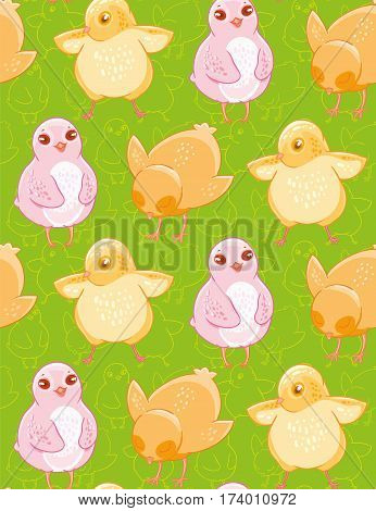 Seamless pattern with funny drawn yellow and pink chickens on green background. Textiles, Wallpaper, kids decor.