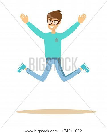handsome man jumping and smiling , over white background. Cartoon character illustration . Stock vector illustration for poster, greeting card, website, ad.