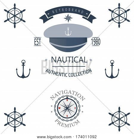 Vintage nautical labels, icons and design elements vector. Vintage vector sea anchor rope ribbon design. Premium quality nautical insignia element.