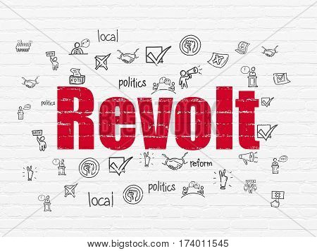Politics concept: Painted red text Revolt on White Brick wall background with  Hand Drawn Politics Icons